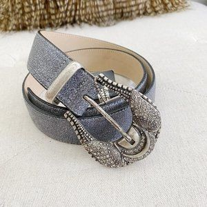 LEATHER ROCK Western Crystal Leather Belt NWT 34